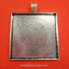 Pendant base, square 37 mm, c. silver