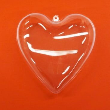 Plastic-heart, 2 parts, 14 cm crystal