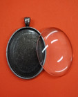 Pendant base, oval, with glass cabochon, c. antique silver