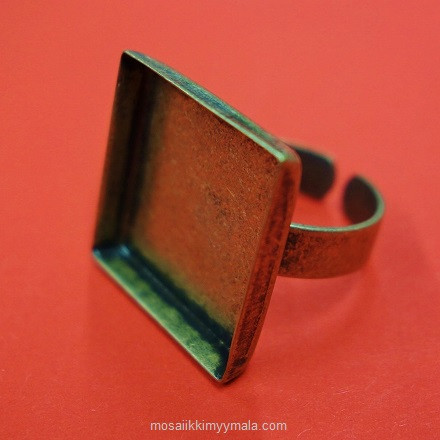 Ring base, square, 20 mm, c. bronze