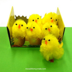 Chicks made of silk chenille, 3,5 cm, 6 pcs