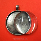 Pendant base, round, with cabochon, antique silver