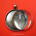 Ramberlock, rund, med glascabochon, antik silver