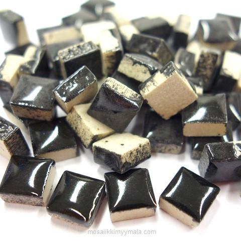 Mini Glazed Ceramic, Black, 81 tiles