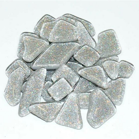 Soft Glas Glitter, Silver 100 g