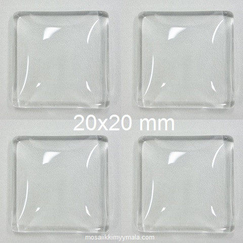 Cabouchon, square, 20 mm, 4 pcs