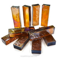 Form Glass, Rectangle, Amber, 10 pcs