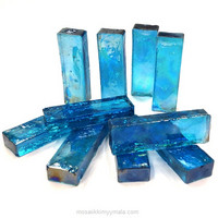 Form Glass, Rectangle, Turquoise, 10 pcs