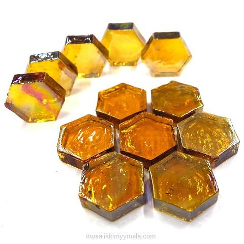 Form Glas, Hexagon, Amber, 12 st