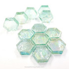 Form Glass, Hexagon, Aqua, 12 pcs