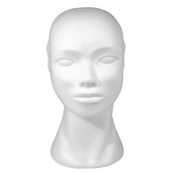 Styrofoam head, height 29 cm