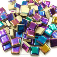 Mini Glazed Ceramic, Rainbow, 81 tiles