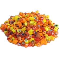 Millefiori, Mosaikstein, Yellow-Red Mix Ø 4-5 mm, 20 g