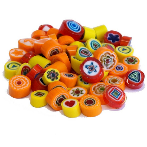 Millefiori, Mosaikstein, Yellow-Red Mix, Ø 9-10 mm, 50 g