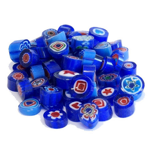 Millefiori, Mosaikstein, Blue Mix, Ø 9-10 mm, 100 g