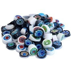 Millefiori, Mosaikstein, Grey Mix, Ø 9-10 mm, 100 g