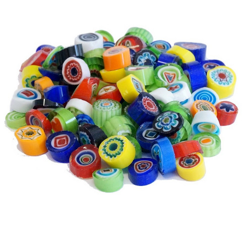 Millefiori, Mosaikstein, Multicolour Mix, Ø 9-10 mm, 100 g