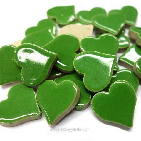 Glazed Ceramic Hearts, Green, 50g