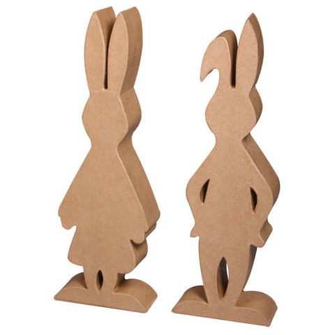 Papier-maché rabbit pair, 1 pair