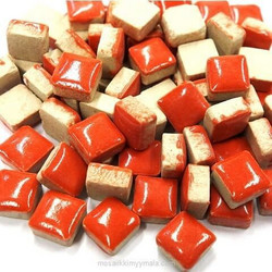 Mini Glazed Ceramic, Red, 81 pcs