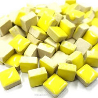 Mini Glazed Ceramic, Yellow, 81 pcs