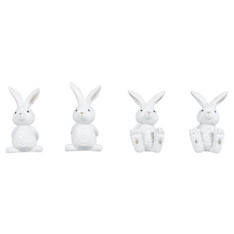 Polyresin rabbits, white, 4pcs