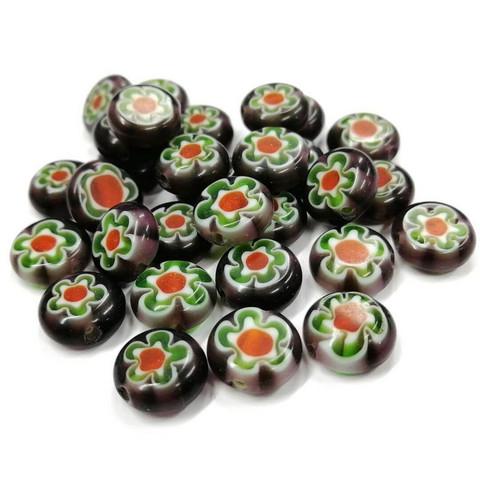 Millefiori-pärlor, 30 st, Amethyst