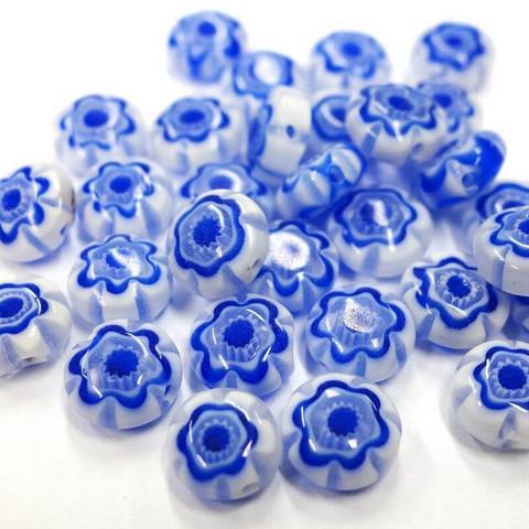 Millefiori-helmet, 30 kpl, Sininen-Valkoinen