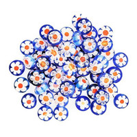 Millefiori beads, 30 pcs, Blue-Red