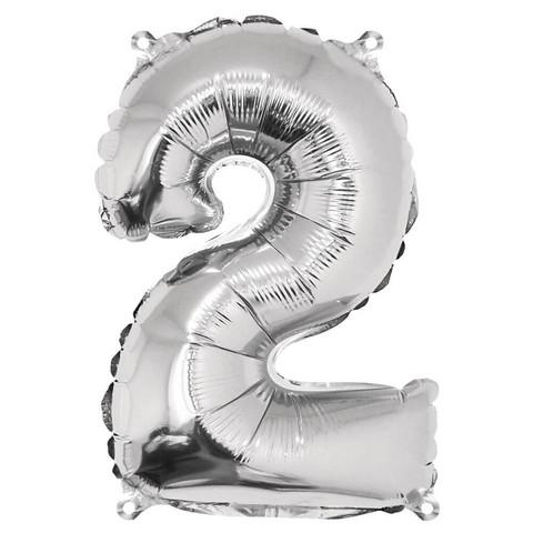 Folieballong, nummer 2, silver