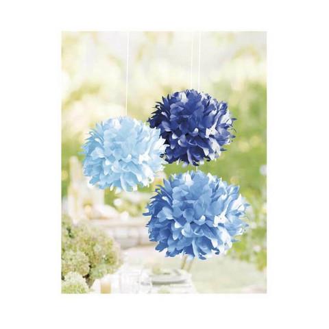 Paper pom-poms, 3pcs, 35cm ø blue mix