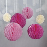 Honeycomb balls, 6 pcs, pink mix