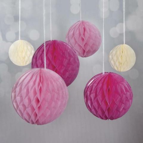 Honeycomb balls, 6 pcs, pink mix