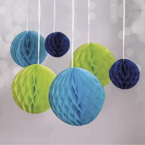 Honeycomb balls, 6 pcs, blue mix