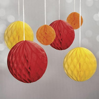 Honeycomb balls, 6 pcs, red mix