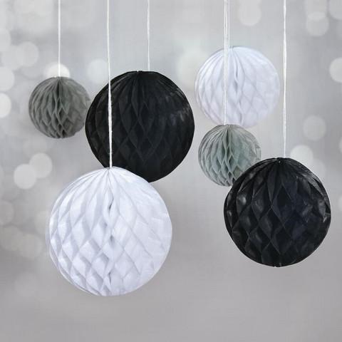 Honeycomb balls, 6 pcs, black mix