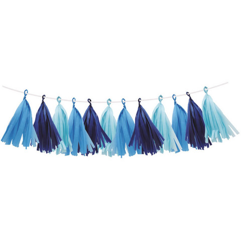 Decorative ribbon, Tassels, blue mix, 3 m