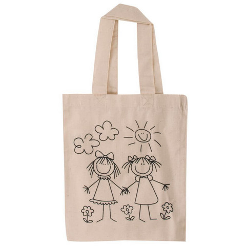 Cotton bag, printed, beige, 21x25cm Girl-friends