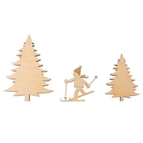 Wooden decoration, Skier + Spruce, 5-10cm