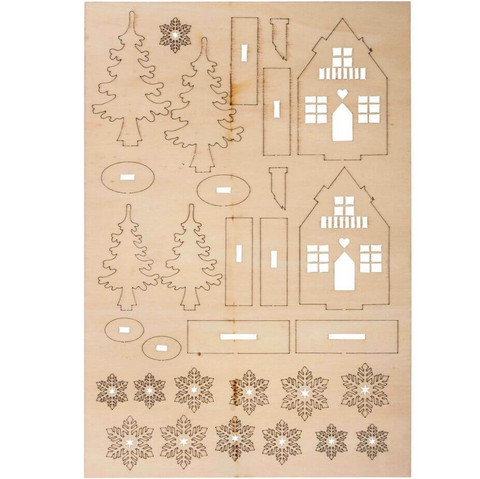 Wooden building kit Winter houses, 31 parts