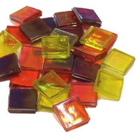 Ice Glas, transparent, Yellow-Red mix, 1 kg