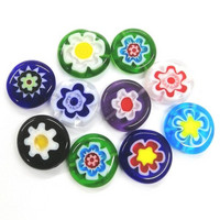Millefiori beads, 15mm, Colour Mix, 10pcs