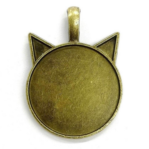 Pendant base, Cat, c. bronze