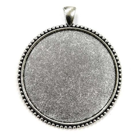 Pendant base, 45 mm, round, decorative, c. silver