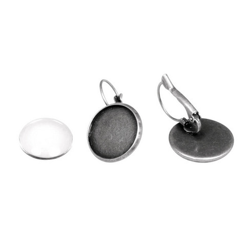 Earring bases, round 17 mm with cabochon, oxidized silver
