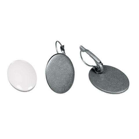 Earring, oval, 18x25 mm, with cabochon, oxidized silver