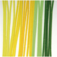 Chenille sticks, 30cm, 25 pcs., 6 mm thick, Green-yellow colours