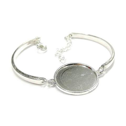 Armband, rund, 20 mm, silverfärgat