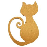 Sittande katt, 15 cm, MDF