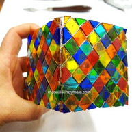 Beautiful mosaic lantern made of tiffany glass mosaic pieces.